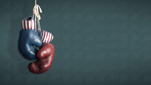 Democrats and Republicans in the campaign symbolized with Boxing Gloves